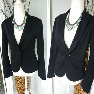 Express black fitted one button blazer 4